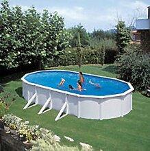 Steinbach Stahlwandpool Set Nuovo de Luxe Oval, weiß, 730 x 366 x 120 cm, 28400 L, 011261