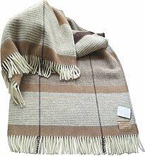 Steinbeck Creme-beige-dunkelbraun gestreifte Wolldecke 100% Schurwolle 130x190cm