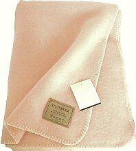 STEINBECK Flauschige warme rosa Wolldecke aus Schurwolle 130x180cm, ca 950g, 3-4mm dick, aus Deutschland, umkettel