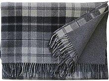 Steinbeck: Grau-schwarze Karo Wolldecke 100% Lambswool, 130x190cm mit Fransen