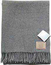 STEINBECK: leichte grau melierte Kaschmir-Wolldecke 130x190 mit Fransen80% Lambswool - 20% Kaschmir