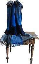 STEINBECK Plaid Mosel Wolle blau Größe 130x180 cm