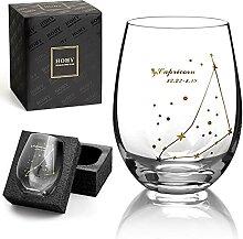 Steinbock Weinglas ohne Stiel, Sternbild Glas,