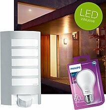 STEINEL L12 LED Außenwandleuchte BEWEGUNGSMELDER Aussenleuchte Außenlampe weiss inkl. PHILIPS LED Leuchtmittel E27 6,7W