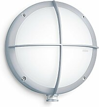Steinel Sensor-Außenleuchte L 331 S silber, Wandleuchte mit 360° Bewegungsmelder und 8 m Reichweite,mit Glasschutz-Kreuz, E 27 Fassung, max. 60 Watt, 670412
