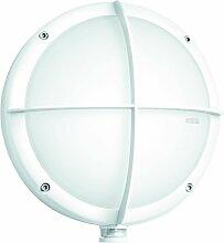Steinel Sensor-Außenleuchte L 331 S weiß, Wandleuchte mit 360° Bewegungsmelder und 8 m Reichweite,mit Glasschutz-Kreuz, E 27 Fassung, max. 60 Watt, 670413