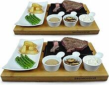 SteinenGrill BERGEN Steak Stein Set, Set von 2