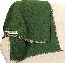 STEINER 1888: Kräftig grüne Wolldecke 'Kiwi' 50% Alpaka-50% Merinowolle, 190x150cm