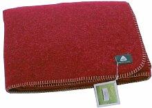 STEINER 1888 Rote Wolldecke 'preiselbeer' aus 50% Merinowolle und 50% Alpaka, 190x150cm, umkettelt, ca 1000 g, waschbar by Alina