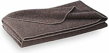 STEINER: Dicke Wolldecke aus brauner Schurwolle, umkettel