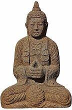 Steinfigur Buddha, Figur aus Lavasteinguss