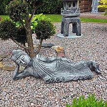 Steinfigur Buddha Figur Gartenfigur Statue Steinguss Gartendeko 76 cm