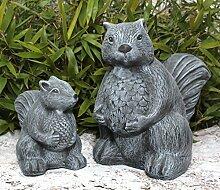 Steinfigur Eichhörnchen 2er Set - Hellbraun, Deko