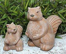 Steinfigur Eichhörnchen 2er Set - Terrakotta,