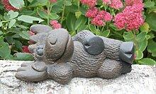 Steinfigur Elch liegend Dunkelbraun, Deko Figur