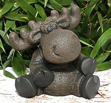 Steinfigur Elch sitzend - Dunkelbraun, Deko,