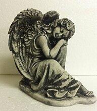 Steinfigur Engel Angel Gartenfigur Grabengel Skulptur Grabschmuck Frostfrei massiver Steinguss Friedhof Grabschmuck