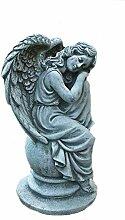 Steinfigur Engel auf Kugel Angel Gartenfigur