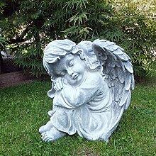 Steinfigur Engel Mädchen Engelsbüste Skulptur Engelsmotiv Putte Gartendeko massiver Steinguss