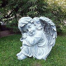 Steinfigur Engel Mädchen Engelsbüste Skulptur Engelsmotiv Putte Gartendeko massiver Steinguss H 33 cm