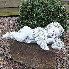 Steinfigur Engel Putte Skulptur Engelsmotiv Gartendeko Grabschmuck Figur massiver Steinguss