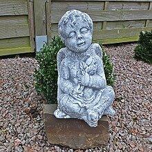 Steinfigur Engel Skulptur Engelsmotiv Putte Gartendeko Grabschmuck Figur 37cm H massiver Steinguss