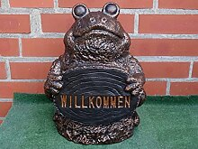 Steinfigur Frosch groß schwarz in kupfer