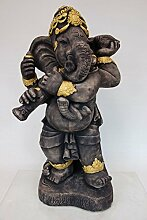 Steinfigur Gartenfigur Gartendeko ***Ganesha mit Muscheltrompete*** grauer Sandstein mit Gold 64 cm - absoluter Blickfang für den Garten -