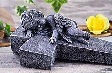 Steinfigur Grabschmuck Steinguss Kreuz mit Engel