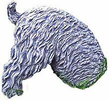 Steinfigur halber HUND GRABEND Frostfest Tierfigur