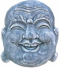 Steinfigur Happy Buddha Kopf Glücksbuddha
