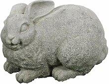 Steinfigur Hase, Gartenfigur, Tierfigur, 28 cm lang