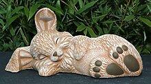 Steinfigur Hase schlafend - Terrakotta, Figur, Deko, Garten, Osterdeko, Osterhase