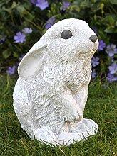 Steinfigur Hase sitzend - Antik-Weiss, Figur, Deko, Garten, Osterdeko, Osterhase
