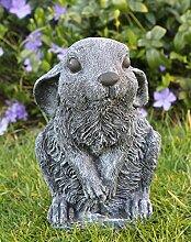 Steinfigur Hase sitzend - Schiefergrau, Figur,