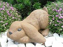 Steinfigur Hase Zwergkaninchen, Widder Gartenfigur