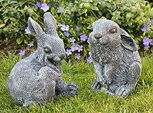 Steinfigur Hasen 2er Set - Schiefergrau, Figur, Deko, Garten, Osterdeko, Osterhase