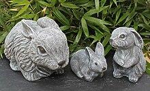 Steinfigur Hasen 3er Set - Schiefergrau, Figur, Deko, Garten, Osterdeko, Osterhase