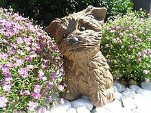 Steinfigur Hund, Gartenfigur Steinguss Tierfigur