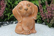 Steinfigur Hund klein, Gartenfigur Steinguss