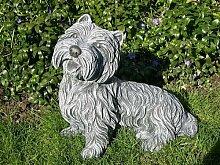 Steinfigur Hund Schiefergrau, Westi Figur Deko