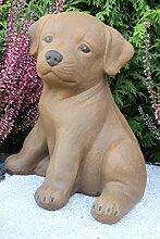Steinfigur Hund sitzend, Gartenfigur Steinguss