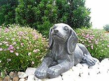 Steinfigur Hund Welpe, Gartenfigur Steinguss