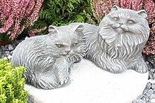 Steinfigur Katze 2er Set, Gartenfigur Steinguss