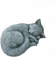 Steinfigur Katze eingerollt Mieze Tierfigur