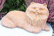 Steinfigur Katze, Gartenfigur Steinguss Tierfigur