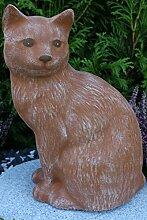 Steinfigur Katze groß, Gartenfigur Steinguss