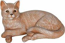 Steinfigur Katze liegend groß - Terrakotta,