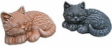 Steinfigur Katze Mini 2er Set, Gartenfigur