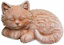 Steinfigur Katze Mini, Gartenfigur Steinguss